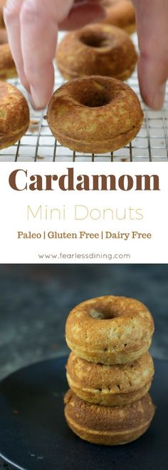 These mini paleo cardamom donuts are a delicious snack. Made with coconut flour, they are also dairy free! Easy gluten free doughnut recipe. via @fearlessdining