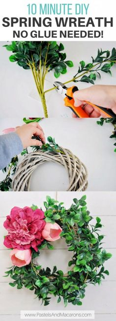 Easy DIY Spring Wreath using flowers. This simple wreath idea requires no glue and can easily be made in 10 minutes. You can even find wreath and floral supplies at the dollar store.