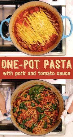 Here's What You Should Eat For Dinner Tonight Weeknight Dinner: One Pot Pasta with Pork and Tomato Sauce Pork Recipes, Pasta Recipes, Dinner Recipes, Cooking Recipes, Healthy Recipes, Dinner Ideas, Pasta Dishes, Food Dishes, Meat Recipes