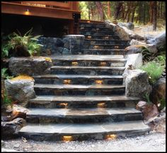 Hard to believe that this project was completed two years ago. Time flies!    One of my all time favourites in the #Highlands of #Victoria #yyj!   #ROCKSandSTONESmasonry  #Natural #Stone specialists. #frontentryway #steps #lighting #outdoorlighting #LEDs #staircase #loghome #loghomeliving #stonework #masonry #hardscape #landscapedesign #photography #photo #construction #Men #Stonemason #design . Where #Stone creates #Art.