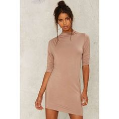 Nasty Gal House of Wolves Mini Dress ($68) ❤ liked on Polyvore featuring dresses, brown, spandex turtleneck, short-sleeve dresses, short mini dress, short sleeve turtleneck and nasty gal dresses