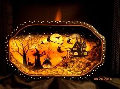 VINTAGE SILVER PLATE WITCHES RAVENS HAUNTED HOUSE LARGE TREAT TRAY HP BY Peggy G