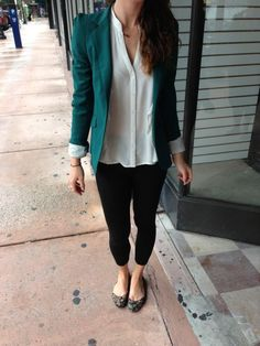 Teal and white business casual! Teal blazer with white top and printed flats.