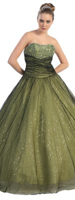 Olive Beaded Glitter Gathered Ball Gown- Sz: 4 to 16