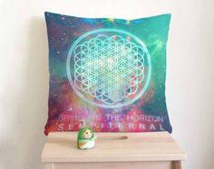 Bring Me The Horizon Pillow cover in cream cotton applique - Decorative cushion cover- Spring Throw pillow 18x18 22x22