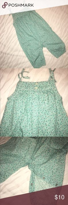 Baby Gap Green Floral Cotton Romper EUC! Never worn adorable floral full length romper. 2 buttons on back and snap closures in crotch for easy diaper access. Perfect for spring! Have twins? I have 2 available! GAP One Pieces