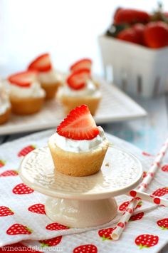 Strawberry Shortcake Sugar Cookie Cups | www.wineandglue.com | The amazing taste of strawberry shortcake in cute little cups!