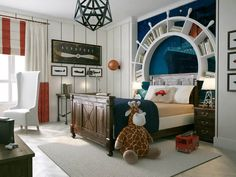 Amazing Nautical Kids Bedroom With Captain's Wheel Bookcase As Headboard And Wooden Bed With Nighstands : Nautical Theme For Your Kids Bedrooom