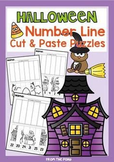 Halloween Number Line Cut and Paste Puzzles - Worksheets