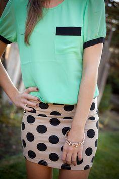 polka dot skirt, mint green shirt