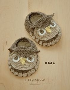 Owl Baby Booties Crochet PATTERN by kittying.com from mulu.us | This pattern includes sizes for 0 - 12 months.