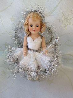 """True Vintage 1950s 6"""" Rosebud Christmas Fairy Doll Tree Topper Christmas Tree Fairy, Christmas Angels, Vintage Christmas, Vintage Ballerina, Fairy Dolls, Tree Toppers, Rose Buds, 1950s, Flower Girl Dresses"""