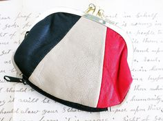 Coin Change Purse Red Black Tan Leather by Herbgirl And Vintage