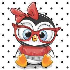 Illustration about Cute Cartoon Penguin with red glasses on a dots background. Illustration of head, animals, holding - 105862839 Cartoon Cartoon, Cute Cartoon Animals, Cute Animals, Penguin Cartoon, Cute Cartoon Images, Cartoon Giraffe, Pinguin Illustration, Illustration Art, Art Illustrations