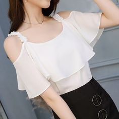 Women Pink And White Chiffon Casual Blouse Sexy Slash Neck Straps Top Solid Fashion Short Sleeve Shirts Chiffon Tops, White Chiffon, Chiffon Shirt, Blouse Sexy, Designs For Dresses, Latest African Fashion Dresses, Stylish Dresses, Blouse Designs, Blouses For Women