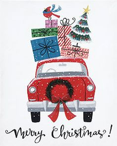 Social Artworking Canvas Painting Design - Merry Christmas Car