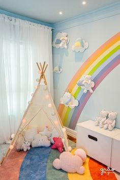 Toddler Rooms, Baby Boy Rooms, Little Girl Rooms, Rainbow Room Kids, Rainbow Bedroom, Kids Bedroom Designs, Kids Room Design, Cute Room Decor, Baby Room Decor