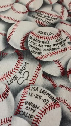 I purchased a baseball print fabric which I used as a quilt label. I wrote on the baseballs do they look like they are signed !!