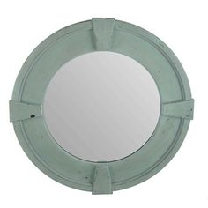 """Make a rich, elegant statement in your home or office with this chic yet functional Distressed Turquoise Dovetail Mirror!    This beautiful mirror features a distressed turquoise frame with four raised blocks. The color and shape provides the perfect accent for placement above a vanity or in your living room, bedroom, office or entryway!        Dimensions:      Width: 26 1/2""""    Thickness: 1""""          Hanging Hardware: 2 - Metal Hooks for Vertical or ..."""
