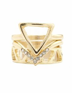 Rhinestone Triangle Stackable Ring Set: Charlotte Russe