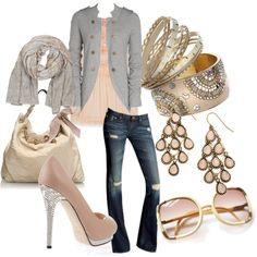 Love champagne colors...love the shoes, the glasses, the bag, the scarf and well alll of it!