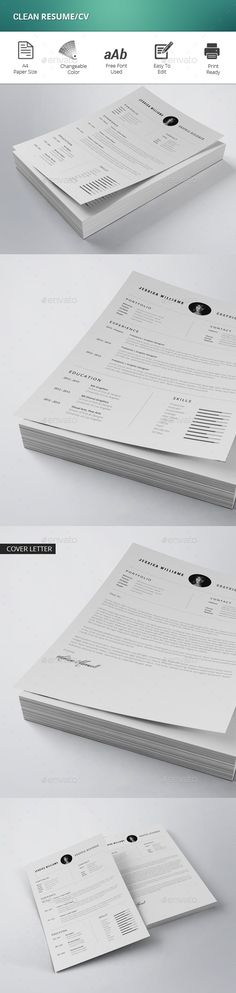 Clean Resume Template-V15 Words, Resume and Cleanses - clean resume design