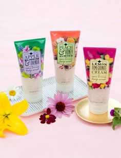 Apple Blossom & Lavender, Peach & Honey Almond, and Lemon Pomergranate Cream Body Scrub | Bath & Body Works