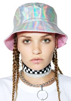 Cool Shit Explorer Bucket Hat new worldz R waitin' fer yew, bb. Discover far out planets in this dope bucket hat that features a holographic silver vegan leather construction and a pink interior.