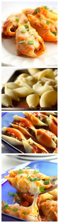 Mexican Stuffed Shells - Pasta Shells stuffed with taco meat and cheese. An easy dinner for a busy night. Freezes well too! Mexican Stuffed Shells - Pasta Shells stuffed with taco meat and cheese. An easy dinner for a busy night. Freezes well too! the-girl-who-ate-everything.com