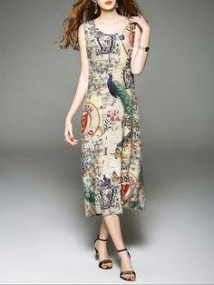 Sleeveless Silk Printed Casual Animal Print Midi Dress