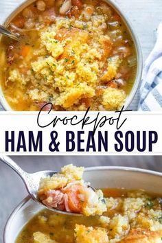 This Crockpot Ham and Bean Soup recipe is simple to make and perfect for family dinners on cool nights. This Southern comfort food classic features bone-in ham, white beans, veggies, and bacon for a super satisfying combo. Top the whole bowl off with some cornbread and hot sauce for the perfect finish. This soup can also be frozen, prepped ahead of time and made with leftover holiday ham. Crockpot Ham And Beans, Holiday Ham, Homemade Cornbread, Ham And Bean Soup, Bean Soup Recipes, Slow Cooker Recipes, Freezer Recipes, Pork Recipes, Crockpot Recipes