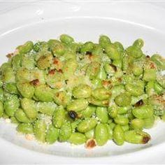 Crispy Edamame -- frozen edamame, olive oil, parmesan cheese, salt and pepper...baked at 400 for 15 mins. OMNOMNOM