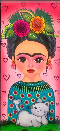 Foto Frida Art Painting, Face Collage, Kahlo Paintings, Whimsical Art, Art, Frida Kahlo Art, Art Pictures, Portrait Art, Pop Art