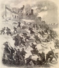 Antique B&W Print from Harper's Weekly 1862 The attack on Fredericksburg-The Forlorn Hope Scaling The Hill by HuntsAntiquePrints on Etsy