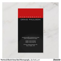 Shop Vertical Black Grey Red Photography Business Card created by hizli_art. Red Photography, Photography Business Cards, Black And Grey, Things To Come, How To Make, Prints