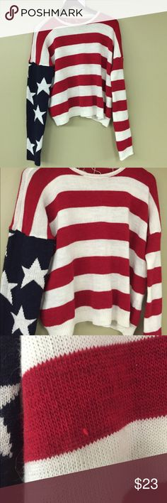 American Flag sweater Patriotic sweater perfect for July 4! Doesn't have an exact size but fits S/M. It was most likely sized as a M. There is a small snag on the front seen in third picture! Brandy Melville Sweaters