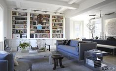 In the library of fashion editor Helen Lee Schifter and Timothy Schifter's Manhattan penthouse, which was designed by Daniel Romualdez,