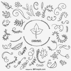 Dibujos de hojas y ornamentos