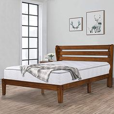 Ecos Living 14 Inch High Rustic Solid Wood Platform Bed Frame With Headboard No Box Spring N Solid Wood Platform Bed Bed Frame And Headboard Platform Bed Frame
