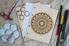 Mandala IV notebook with engraving for painting and DIY projects (Books, Movies & Music  Books  Blank Books  Sketchbooks  wood  Supplies  therapy  meditation  kids  Painting  art notebook  mandala  relax  hobby  gift  drawing)