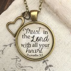 Bible Verse Pendant Necklace Trust in the Lord by RedeemedJewelry Bangle bracelets diy Trust in the Lord Necklace Bracelet Quotes, Bracelet Set, Bangle Bracelets, Necklaces, Heart Painting, Christian Jewelry, Bible Verses, Bible Quotes, Scriptures