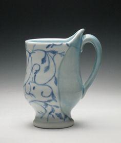 Blue floral pattern porcelain mug
