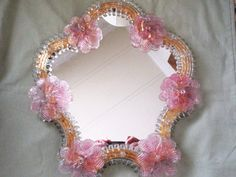 Vintage Murano Venetian Glass Mirror Clear Glass w/Pink Flowers Attached | eBay