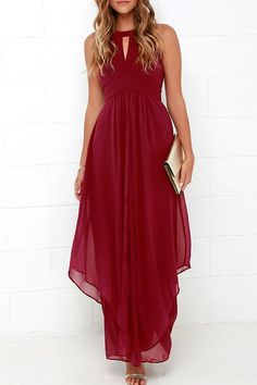 Elegant Hollow Out Sleeveless Solid Color Chiffon Maxi Dress For Women