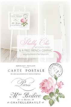 DIY: A Shabby Chic wooden easel and a free French graphic for you / Tutorial: Un sevalet Shabby Chic din lemn si o imagine frantuzeasca pentru voi