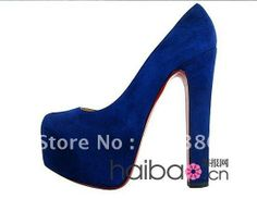 New arrival! hottest sales! high heel shoes,women shoes Thick with blue  suede high-heeled shoes US $57.00