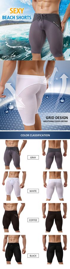 Sexy Sport Beach Swimming Surf Hot Spring Breathable Mesh Knee Length Trunks for Men