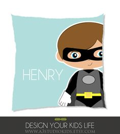 Kids Personalized Pillow with superhero by A3StudioKids on Etsy, $32.00