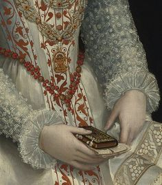 Portrait of a Lady in Elaborate White Dress (detail). By Lavinia Fontana, 16th c.