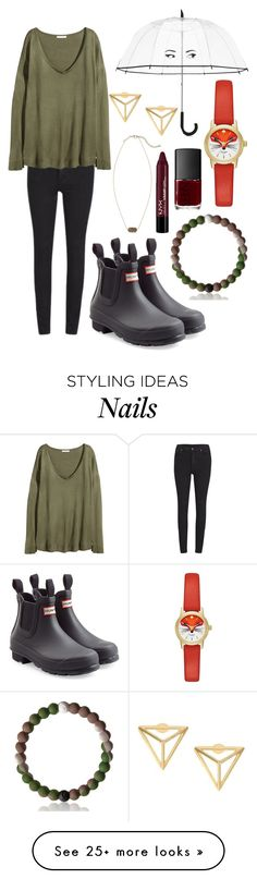 """1K WHAT OMG TY ILY READ D"" by emmacaseyyyy on Polyvore featuring Cheap Monday, H&M, Kate Spade, Hunter, Kendra Scott and NARS Cosmetics"